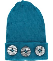 0711 button beanie - blue