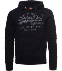 superdry men's vintage-like logo shirt shop bonded hoodie