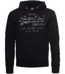 superdry men's vintage-like logo shirt shop bonded hoodie