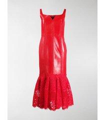 alexander mcqueen lace panel midi dress