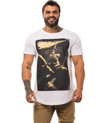 camiseta longline alto conceito smoking woman branco meia malha - branco - masculino - algodã£o - dafiti