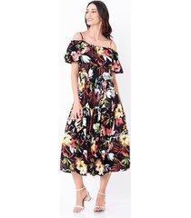 vestido largo estampado botánico escote bardot