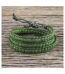 quartz beaded wrap bracelet, 'spring meadow' (thailand)