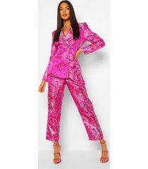getailleerde oriëntaalse jacquard blazer met dubbele knopen, pink