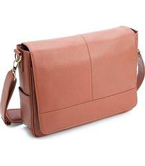 royce new york men's leather laptop messenger bag - tan