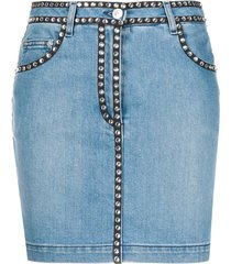 moschino stud-trim denim skirt - blue
