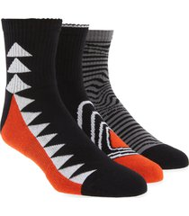 men's pair of thieves rfe assorted 3-pack cushion ankle socks, size one size - black