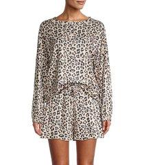 stellah women's leopard-print henley & shorts 2-piece set - leopard - size s
