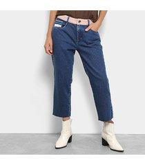calça jeans reta my favorite thing (s) cintura média comfort ankle feminina