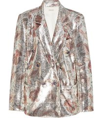 sequinned paisley print blazer