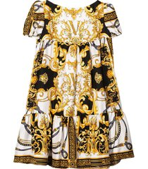 young versace teen flared dress with baroque press