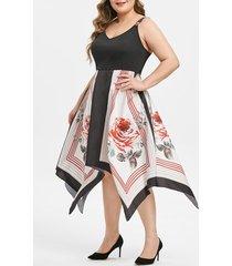stripes floral side zipper handkerchief plus size dress
