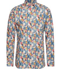tennis racket flower print poplin shirt overhemd casual multi/patroon eton