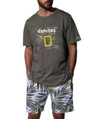pyjama's / nachthemden admas for men vegetal national geographic kaki t-shirt korte pyjama's admas