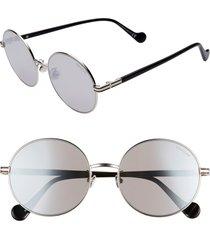 women's moncler 56mm mirrored round sunglasses - palladium/ smoke mirror