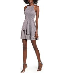 women's speechless metallic layered fit & flare party dress