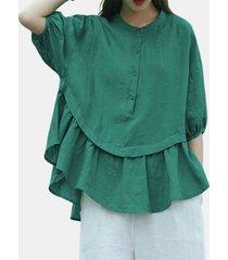 camicetta tinta unita bambola elastico pieghettato plus bambola di colore solido