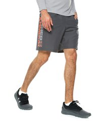 pantaloneta gris-naranja under armour woven graphic wordmark