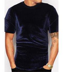 camiseta de terciopelo de verano para hombres camiseta casual brillante de color sólido de moda