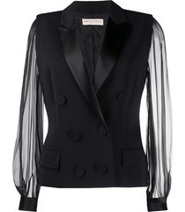emilio pucci sheer sleeve double-breasted blazer - black