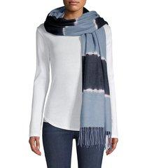 charlotte simone women's colorblock wool scarf - dusty blue