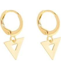brinco piuka mini argola triângulo folheado ouro feminino