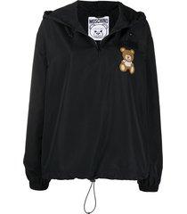 moschino teddy bear patch drawstring hoodie - black