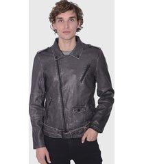 chaqueta ellus stain pu biker jacket gris - calce regular