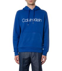 calvin klein blue cotton hoodie sweatshirt with logo