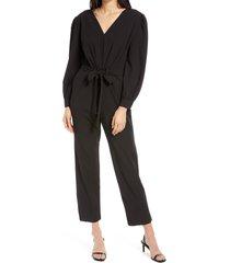 women's fraiche by j tie front jumpsuit, size large - black