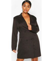 plus double breasted belted blazer dress, black
