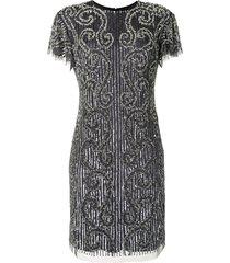 aidan mattox embellished shift dress - grey
