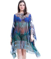 kaftan 101 resort wear estampado azul