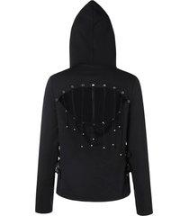 cut out back zipper hoodie