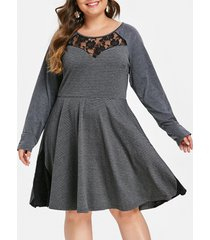 plus size lace insert striped skater dress