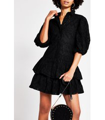 river island womens black broderie puff sleeve shirt dress