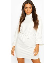 funnel neck tie sleeve detail shift dress, ivory