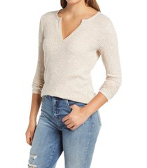 women's socialite long sleeve thermal henley top, size small - beige