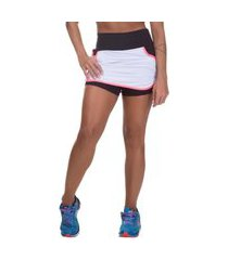 shorts saia feminino miss blessed fitness dry fit branco