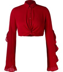 plus size ruffle twist crop blouse