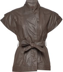 rina leather vest leren jack leren jas bruin mdk / munderingskompagniet