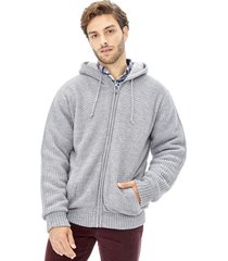 sweater tejido chiporro zipper gris corona