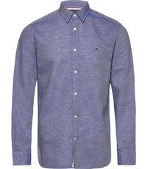 cotton linen twill shirt skjorta casual blå tommy hilfiger