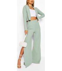 crop blazer & split wide leg trouser suit set, sage