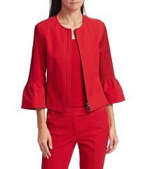 akris punto women's pintuck bell-sleeve cropped jacket - luminous red - size 12