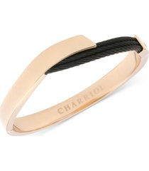 charriol two-tone overlap bangle bracelet in 18k rose gold pvd stainless steel & black pvd cable