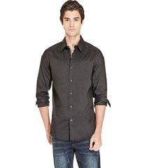 camisa g factory ls damon plain poplin negro guess