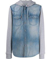 balmain hooded material mix denim shirt - blue