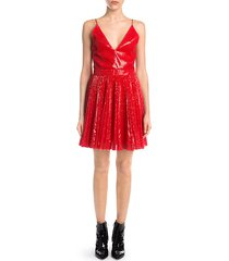 pleated sequin flare dress