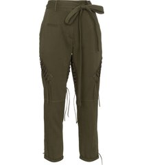 saint laurent laced military pants - green
